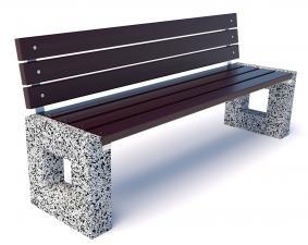 Скамейка уличная бетонная Арена со спинкой