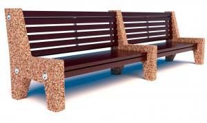 Скамейка бетонная Евро 7 лайн со спинкой