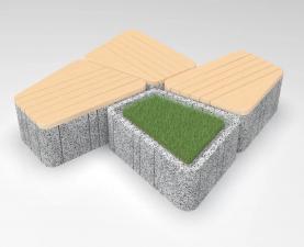 Скамейка бетонная UNI RLL