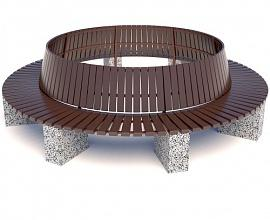 Скамейка бетонная Евро 1 круг со спинкой