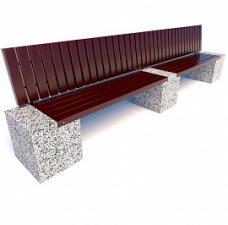 Скамейка бетонная Евро 2 Лайн со спинкой